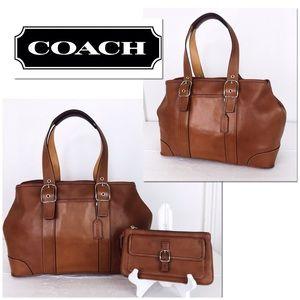 Coach Hamptons Whiskey Leather XL Satchel Set